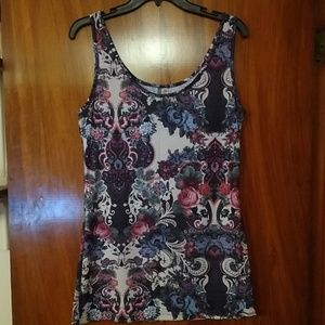BKE soft, looser, tank w/floral paisley print
